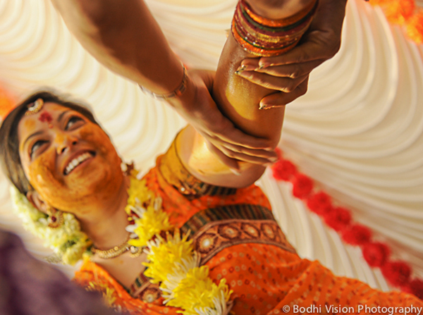 Indian wedding turmeric ceremony bride