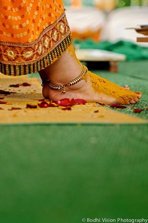 Indian wedding turmeric tradition bride