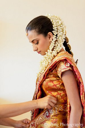 Indian wedding bride getting ready sari