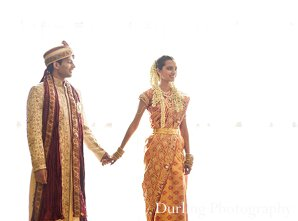 Indian wedding bride groom hold hands