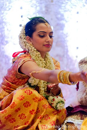 Indian wedding ceremony bride sari mandap