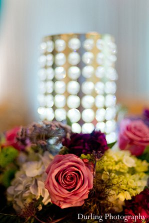 Indian wedding closeup floral decor reception