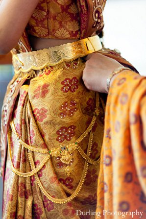Indian wedding getting ready bride sari