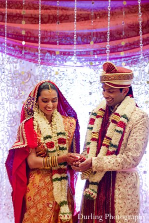 Indian wedding groom bride mandap ceremony