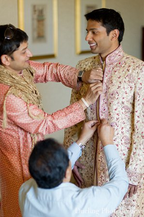 Indian wedding groom getting ready sherwani