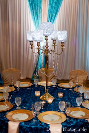 Indian wedding reception decor table floral