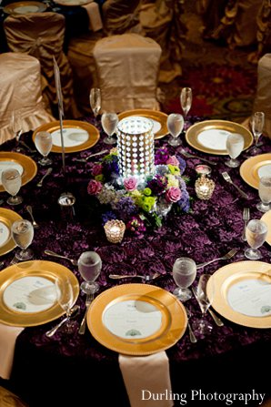 Indian wedding reception table decor
