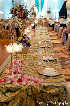 Indian wedding table reception floral decor