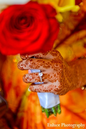 Indian wedding bride bouquet mehndi ring in San Francisco, California Indian Wedding by Enluce Photography