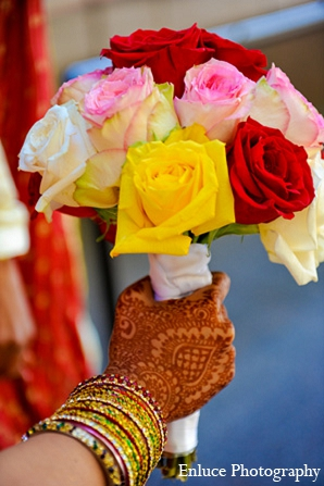 Indian wedding bride bouquet roses in San Francisco, California Indian Wedding by Enluce Photography