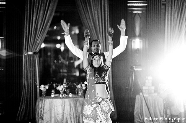 Indian wedding bride reception dance in San Francisco, California Indian Wedding by Enluce Photography