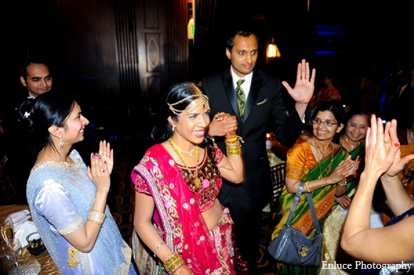 Indian wedding bride groom reception entrance in San Francisco, California Indian Wedding by Enluce Photography