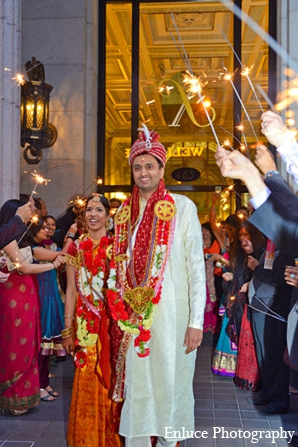 Indian wedding ceremony bride groom sparklers in San Francisco, California Indian Wedding by Enluce Photography