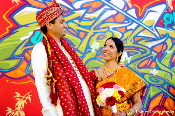 Indian wedding portraits bride groom graffiti city in San Francisco, California Indian Wedding by Enluce Photography
