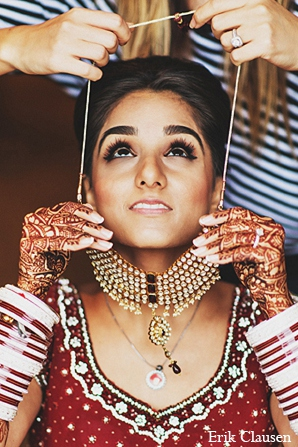 Indian wedding bride fashion jewelry in Dallas, Texas Indian Wedding by Erik Clausen