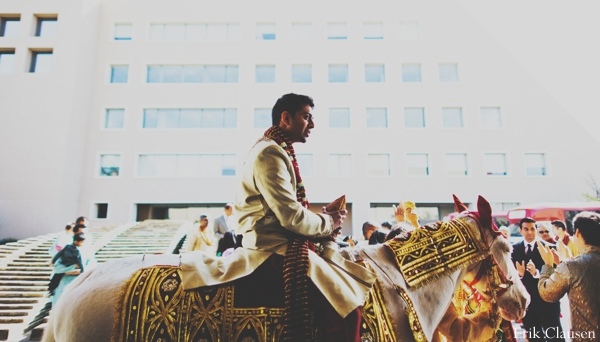 Indian wedding baraat traditional celebration horse in Westlake, Texas Indian Wedding by Erik Clausen Photography