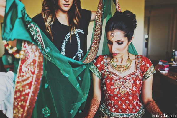 Indian wedding bridal lengha portrait traditional in Westlake, Texas Indian Wedding by Erik Clausen Photography