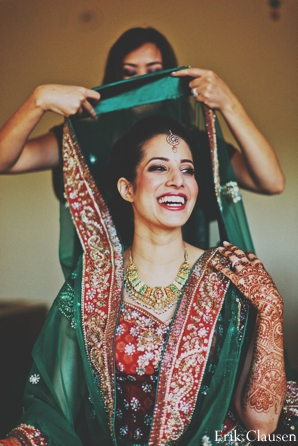 Indian wedding bridal portrait  traditional lengha in Westlake, Texas Indian Wedding by Erik Clausen Photography