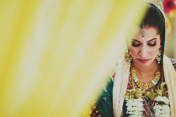 Indian wedding,yellow,green,mandap,wedding ceremony,Erik Clausen,bride at mandap