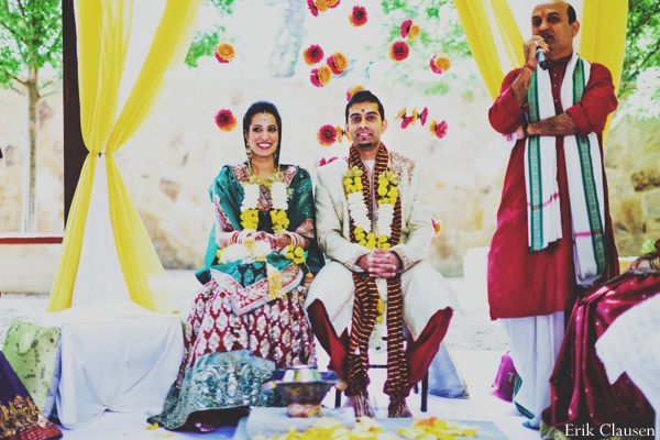Indian wedding bride groom fabric mandap in Westlake, Texas Indian Wedding by Erik Clausen Photography