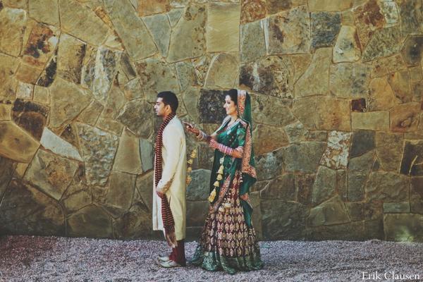 Indian wedding bride groom portrait sherwani lengha in Westlake, Texas Indian Wedding by Erik Clausen Photography