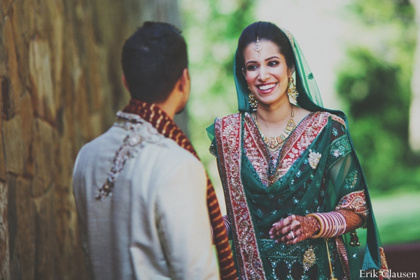 Indian wedding bride groom traditional ceremonial dress in Westlake, Texas Indian Wedding by Erik Clausen Photography