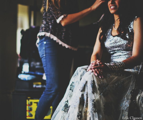 Indian wedding bride reception lengha in Westlake, Texas Indian Wedding by Erik Clausen Photography
