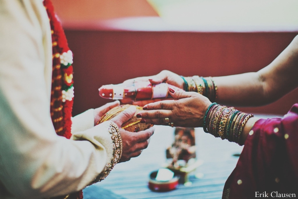 Indian wedding ceremony bride groom bangles in Westlake, Texas Indian Wedding by Erik Clausen Photography