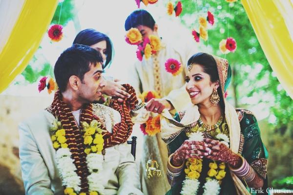 Indian wedding ceremony bride groom floral in Westlake, Texas Indian Wedding by Erik Clausen Photography