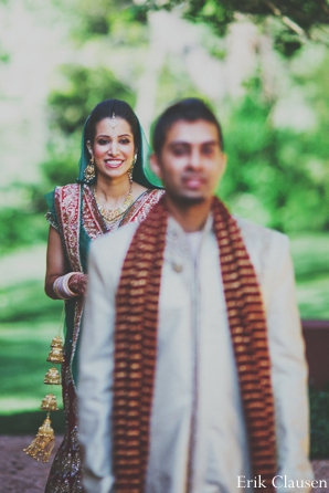 Indian wedding couples portrait bride groom in Westlake, Texas Indian Wedding by Erik Clausen Photography