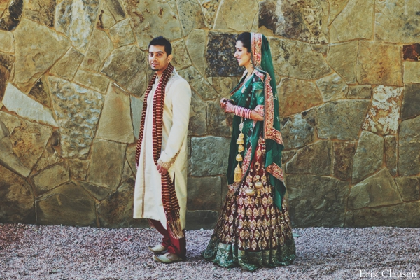 Indian wedding first look bride groom in Westlake, Texas Indian Wedding by Erik Clausen Photography