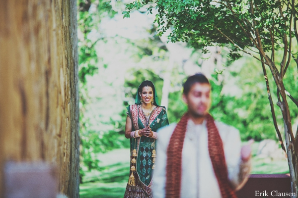 Indian wedding groom bride first look in Westlake, Texas Indian Wedding by Erik Clausen Photography
