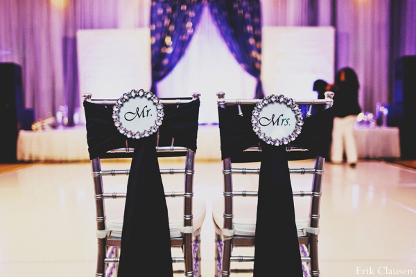 Indian wedding reception decor chairs in Westlake, Texas Indian Wedding by Erik Clausen Photography