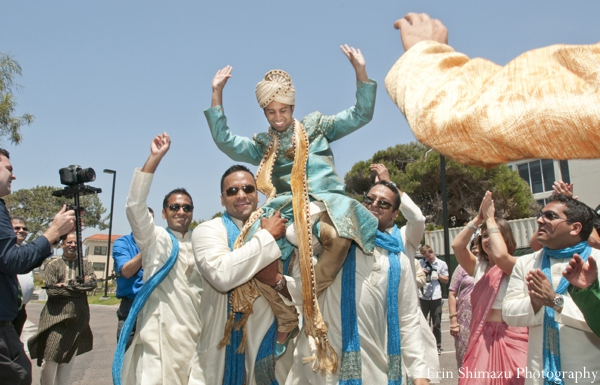 Indian wedding baraat celebration beach in Picturesque Indian Wedding + Garba by Erin Shimazu Photography, San Diego, California