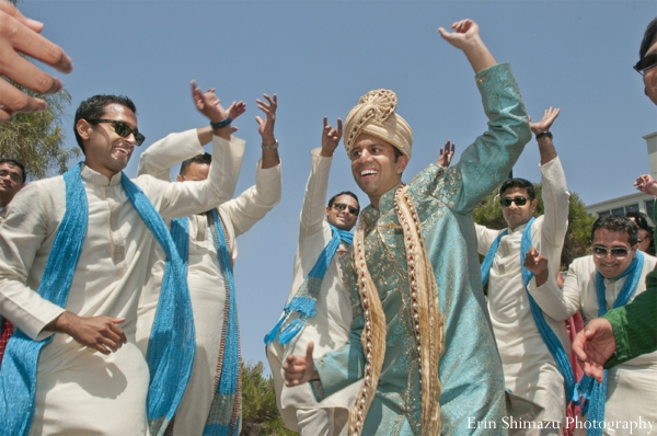 Indian wedding baraat groom groomsmen celebration dancing in Picturesque Indian Wedding + Garba by Erin Shimazu Photography, San Diego, California