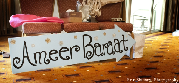 Indian wedding baraat sign celebration design in Picturesque Indian Wedding + Garba by Erin Shimazu Photography, San Diego, California