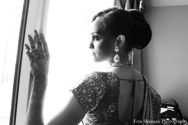 indian wedding bridal black and white
