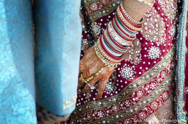 Indian wedding bridal detail lengha in Picturesque Indian Wedding + Garba by Erin Shimazu Photography, San Diego, California