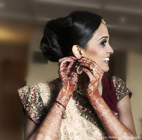 gold,bridal fashions,Mehndi Artists,indian wedding bridal henna,bridal lenghas,traditional lengha,hair and makeup for indian bride,bride prep for ceremony,Erin Shimazu Photography