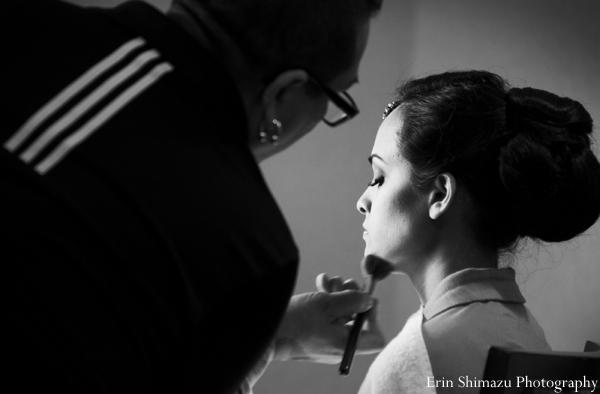 Indian wedding bridal hair and makeup in Picturesque Indian Wedding + Garba by Erin Shimazu Photography, San Diego, California