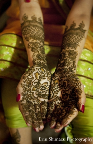 Indian wedding bridal mehndi henna in Picturesque Indian Wedding + Garba by Erin Shimazu Photography, San Diego, California