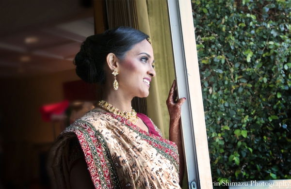 Indian wedding bridal portrait traditional in Picturesque Indian Wedding + Garba by Erin Shimazu Photography, San Diego, California
