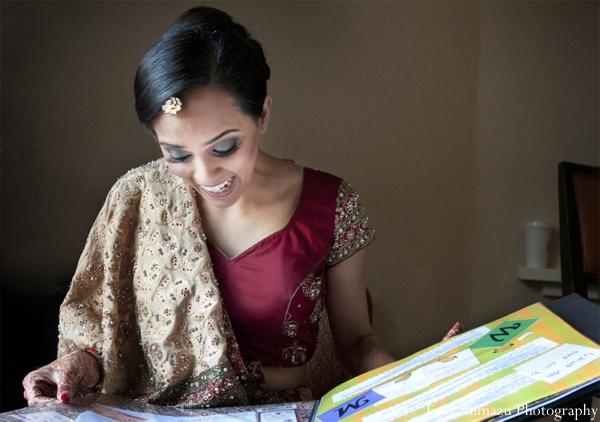 Indian wedding bridal prep lengha dress in Picturesque Indian Wedding + Garba by Erin Shimazu Photography, San Diego, California