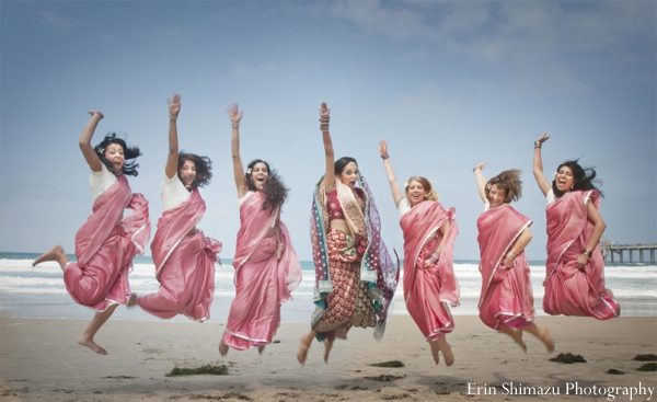 Indian wedding bride bridesmaids beach portrait in Picturesque Indian Wedding + Garba by Erin Shimazu Photography, San Diego, California