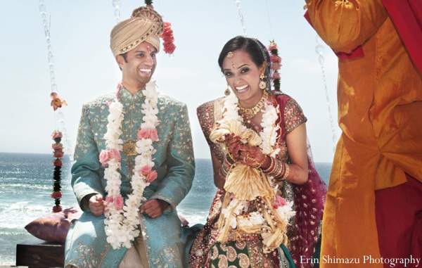 Indian wedding bride groom ceremony celebration in Picturesque Indian Wedding + Garba by Erin Shimazu Photography, San Diego, California