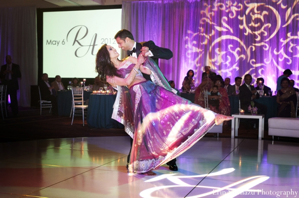 purple,indian wedding dancing,indian wedding reception lighting,purple lighting for reception,bride and groom on dance floor,lighting on the dance floor,bride and groom dancing on the dance floor,Erin Shimazu Photography