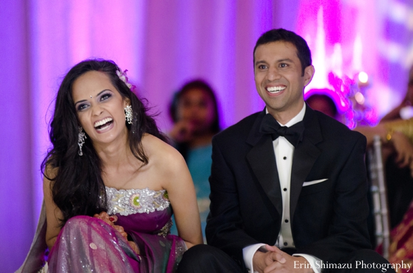 Indian wedding bride groom reception celebration in Picturesque Indian Wedding + Garba by Erin Shimazu Photography, San Diego, California