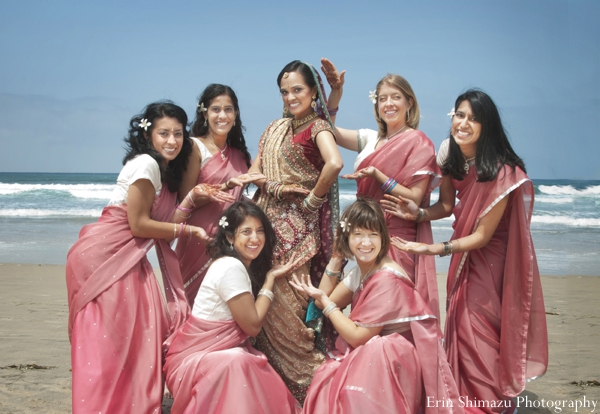 Indian wedding bridesmaids beach lenghas in Picturesque Indian Wedding + Garba by Erin Shimazu Photography, San Diego, California