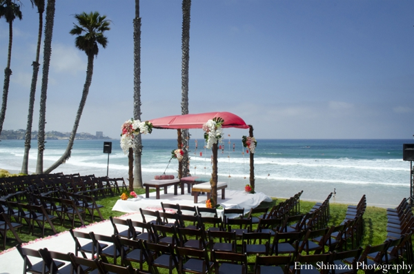 Indian wedding ceremony decor beach ocean mandap in Picturesque Indian Wedding + Garba by Erin Shimazu Photography, San Diego, California