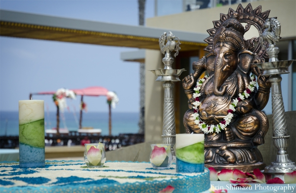 Indian wedding ceremony decor bronze ganesha in Picturesque Indian Wedding + Garba by Erin Shimazu Photography, San Diego, California